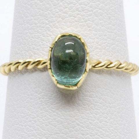 Handmade Bezel Set Green Tourmaline Stack Ring in 18k, Tourmaline Stack Ring, Green Tourmaline Ring, Bezel Set Tourmaline Ring, Green Ring
