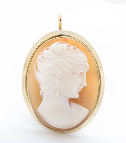 Vintage 18k Yellow Gold Cameo Pendant Pin Brooch
