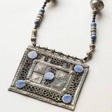 Vintage Moroccan Berber Silver and Enamel Pendant Necklace, Moroccan Jewelry, Berber Jewelry, Berber Necklace, Moroccan Enamel Necklace
