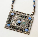 Vintage Moroccan Berber Silver and Enamel Pendant Necklace