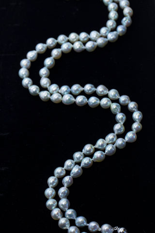 "Gorgeous 34"" 8mm Baroque Pearl Adjustable 16"" and 18"" Necklace 14k, Layered Pearl Necklace, Classic Silver Pearls, Double Strand Necklace"