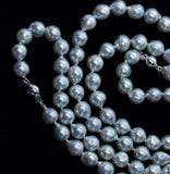 "Gorgeous 34"" 8mm Baroque Pearl Adjustable 16"" and 18"" Necklace 14k White Gold"