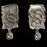 Handmade Sterling Silver Earrings With Crystal Quartz Cabochon, Artistic Silver Earrings, Sterling Silver Swirl Earrings, Crystal Quartz
