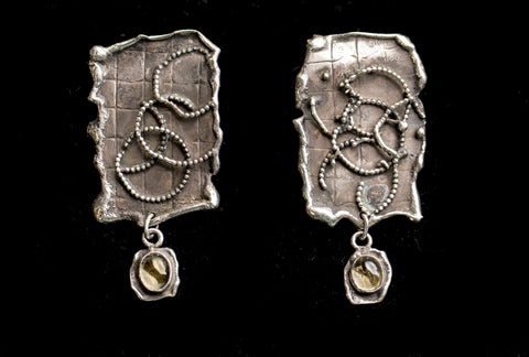 Handmade Sterling Silver Earrings With Crystal Quartz Cabochon