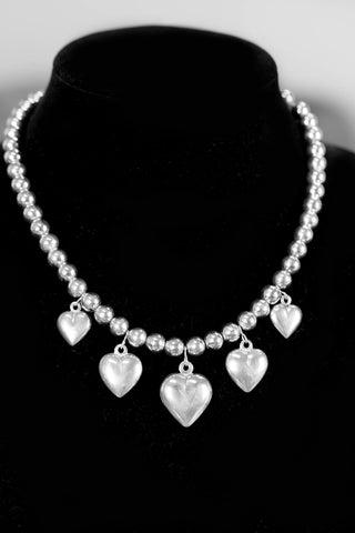 Vintage Sterling Silver Heart and 8mm Bead Necklace 17""