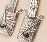 Vintage Abstract Sterling Silver and Onyx Dangle Earrings