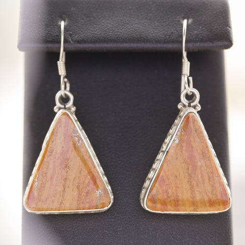 Vintage Orange Jasper Sterling Silver Triangle Dangle Earrings Orange Jasper Dangle Earrings, Sterling Orange Dangle Earrings, Orange Jasper