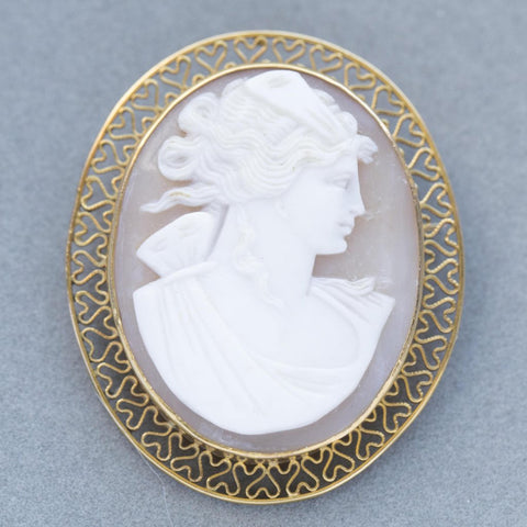 Vintage Highly Detailed Cameo 14k Yellow Gold Pendant Brooch, Large Cameo Brooch Pendant, Vintage Cameo, Antique Cameo, Antique Cameo Gold
