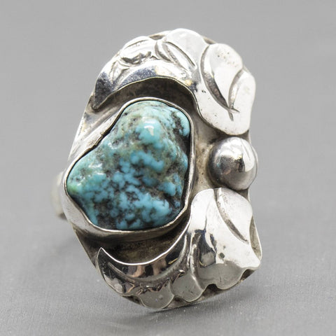 Vintage Native American Turquoise Wings Sterling Silver Ring, Vintage Turquoise Ring, Native American Turquoise Ring, Turquoise Wings Ring