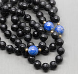 "8-10mm Onyx and Lapis 14K Gold Infinity Beaded 33"" Necklace"