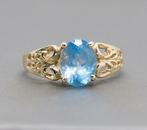 1.50ct Blue Topaz 14k Bow Filigree Ring