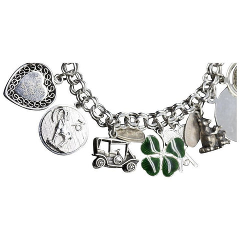 Vintage Sterling Silver 21 Charm Bracelet Sorority Graduation Shamrock New York