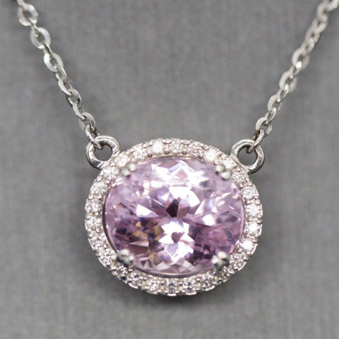 "4.85ctw Kunzite and Diamond 14k White Gold Heart Detail 18"" Halo Necklace"