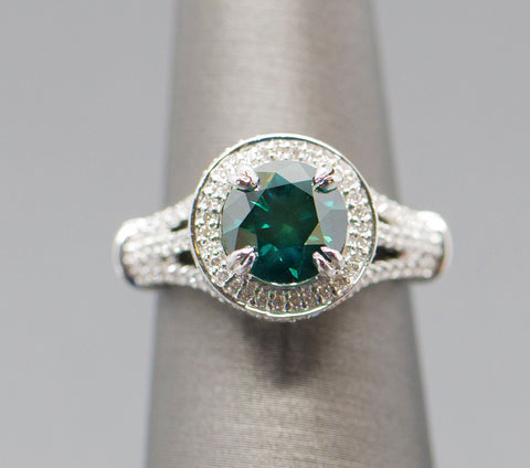 2.79ctw Green Diamond Halo Split Shank Engagement Ring 18k