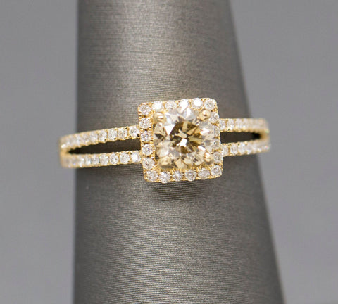 1.04ctw Champagne Diamond Square Halo Split Shank Engagement Ring 18k