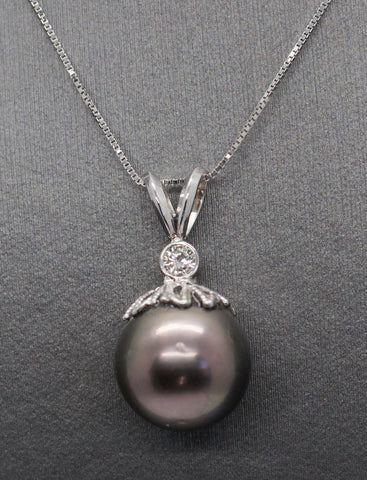 12mm Tahitian Pearl and .17ct Diamond 18k White Gold Necklace