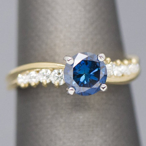 1.38ctw Blue and White Diamond Engagement Ring in 18k Size 6