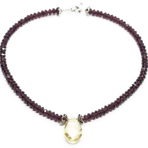 "Garnet and Citrine Beaded Choker Necklace 14"", Garnet & Citrine Faceted Bead Necklace Toggle Heart Clasp, Garnet Choker Necklace"