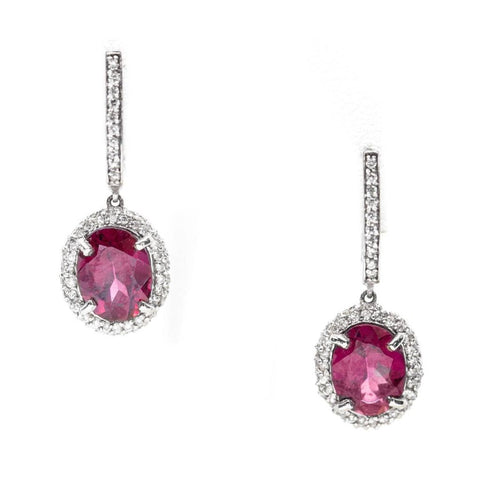 3.30 Rhodolite Garnet and Diamond Halo Earrings 14k, Rhodolite Garnet Diamond Dangle Earrings, Rhodolite Diamond Halo Earrings, Rhodolite