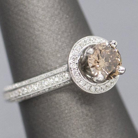 1.65ctw Fancy Orange Brown Diamond Halo Engagement Ring 18k
