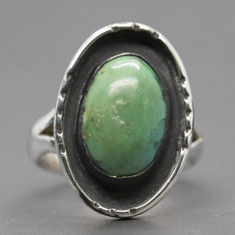 Vintage Southwestern Green Turquoise Sterling Silver Ring, Green Turquoise Ring, Southwestern Green Turquoise Ring, Vintage Turquoise Ring