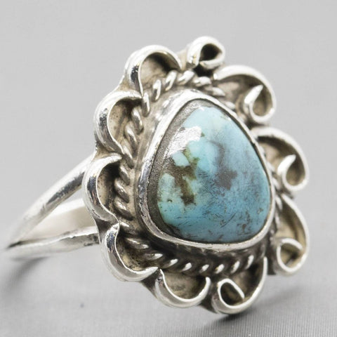 Vintage Southwestern Sterling Silver Turquoise Ring Size 5.5