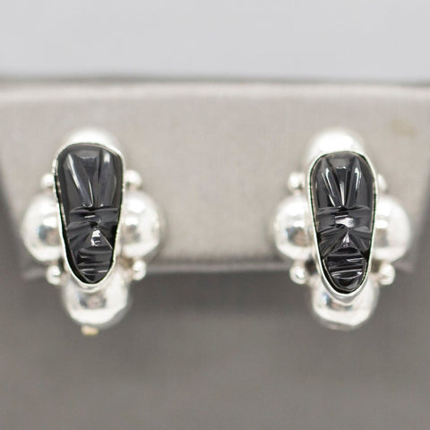 Vintage JD Taxco Mexico Sterling Silver Carved Onyx Mayan God Face Mask Earrings Screwback