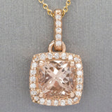 3.07ctw Morganite and Diamond Halo Handmade 14k Rose Gold Pendant, Morganite Diamond 14k Rose Gold Pendant, Morganite Diamond Halo Pendant