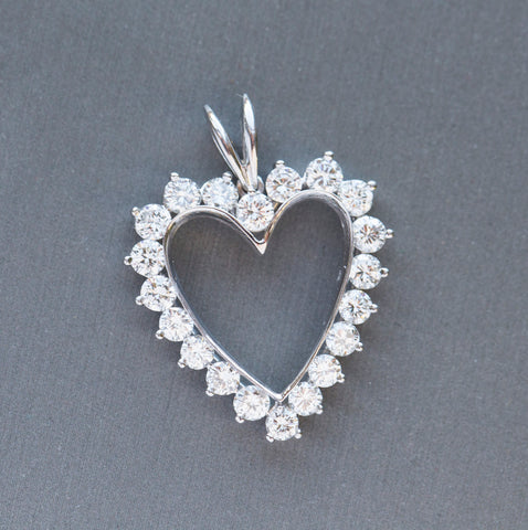 2.00ctw Diamond Heart Platinum Pendant Necklace 18""