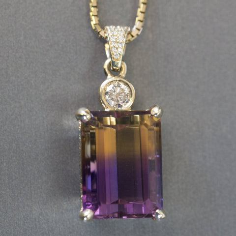 Jaw-Dropping 29.41ctw Emerald Cut Ametrine and Diamond 14k Yellow Gold Necklace