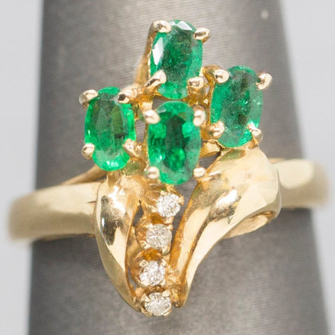 Natural Emerald & Diamond Garden Party Statement Ring 14k
