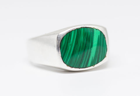 Vintage Taxco Mexico Malachite Inlay Sterling Silver Ring