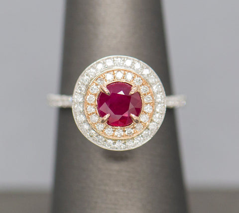 Natural Round Ruby & Diamond Double Halo 18K White Rose Gold Ring