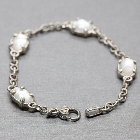 Judith Ripka Mother of Pearl Doublet Silver Bracelet, Judith Ripka Chain Link Bracelet, Judith Ripka Heart Clasp, Sterling Silver Bracelet