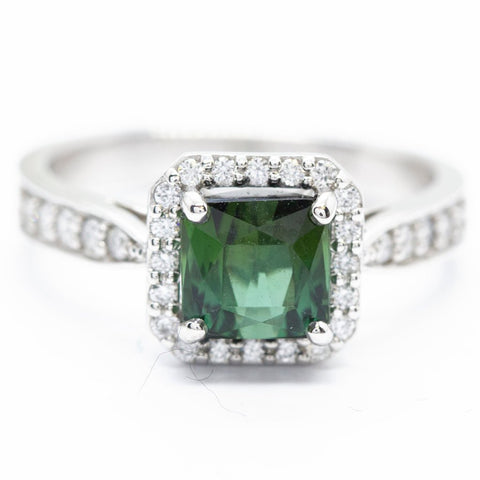 Brazilian Green Tourmaline and Diamond Halo Ring, 14k, Unique Engagement Ring, October Birthday, October Birthstone, Green Engagement Ring