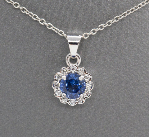 Handcrafted 0.67ctw Ceylon Sapphire and Diamond Halo Necklace 18k, Classic Sapphire and Diamond Necklace, September Birthstone Pendant, Blue