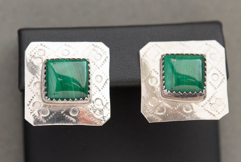Vintage Southwestern Malachite Sawtooth Bezel Square Button Earrings Sterling Silver