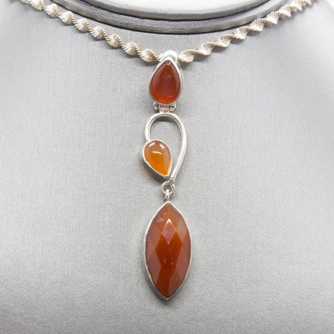 Handcrafted Carnelian and Sterling Silver Pendant, Long Pendant, Minimalist Carnelian Pendant, Stabilizing Gemstone, Gemstone for Motivation