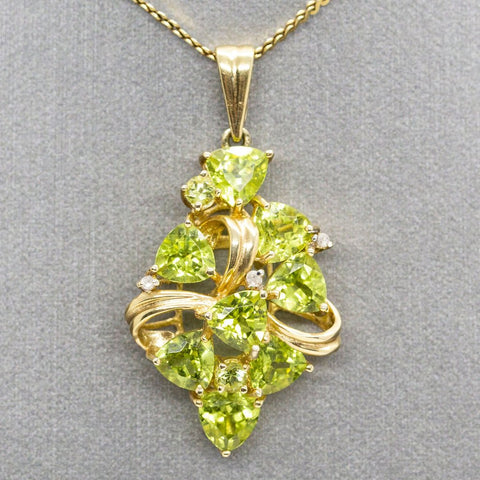 5.00ctw Trillion Peridot and Diamond Cluster Ribbon Pendant Necklace, August Birthstone, Peridot Necklace, Peridot and Diamond 14k, Cluster