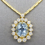 Classic Oval Aquamarine and Diamond Pendant Necklace 18k, March Birthstone, Natural Aquamarine Diamond, Statement Necklace, Signature  Royal