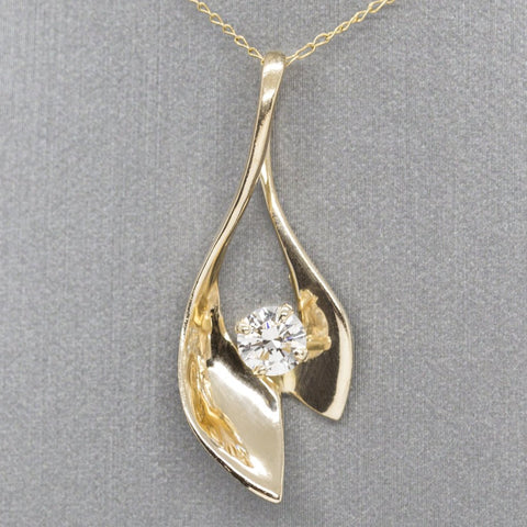 Vintage Modernist Diamond Solitaire Pendant Necklace, 14k Yellow Gold Curve Diamond Pendant Slide, Diamond Ribbon, Anniversary Gift, For Her