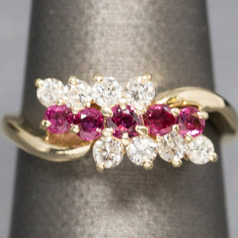 1.00ctw Ruby and Diamond Ring 14k, Ruby and Diamond Cluster Ring, Anniversary Ring, Three Stone Ring, Bypass, Yellow Gold, July Birthstone
