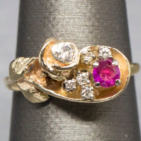 Sweet Vintage Ruby and Diamond Rose Ring in 14k, July Birthstone, Anniversary Ring, Handmade Flower Cluster Ring, Romantic Dainty Ruby Ring