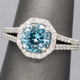 Handcrafted 2.78ctw Caribbean Blue Zircon and Diamond Ring Size 7