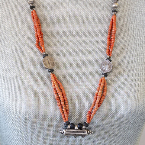 Antique Turkmen Tajik Coral Bead Silver Wedding Necklace, Tavis Necklace, Amulet, Afghan Coral, Ethnic Wedding Jewelry, Antique Bridal Coral