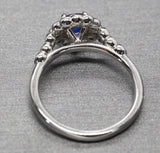Precious 1.09ctw Natural Ceylon Blue Sapphire and Bezel Set Diamond Ring 14k Size 7