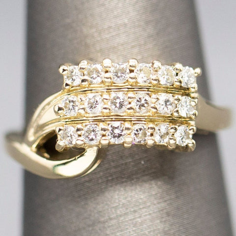 Vintage Three Row Diamond Ring 14k, Retro Wedding Ring, Anniversary Ring, Cocktail Ring, Round Cut Diamond, Bypass Design, Feminine Ring
