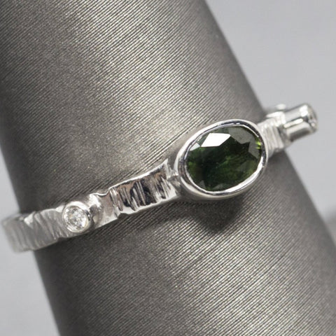 Green Sapphire and Diamond Stack Ring in 14k White Gold Size 7.75