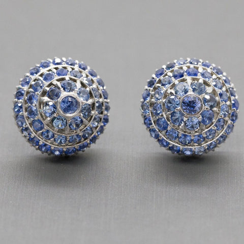 Antique Harem Design 6.00ctw Sapphire Sterling Silver Earrings