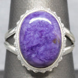 Handcrafted Purple Charoite Sterling Silver Ring, Split Shank, Bezel Set, Bead Detail, Natural Chariot Ring, Boho Ring, Statement Ring